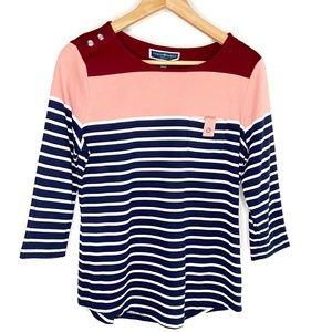 Karen Scott Sport Striped Burgundy Top Size M